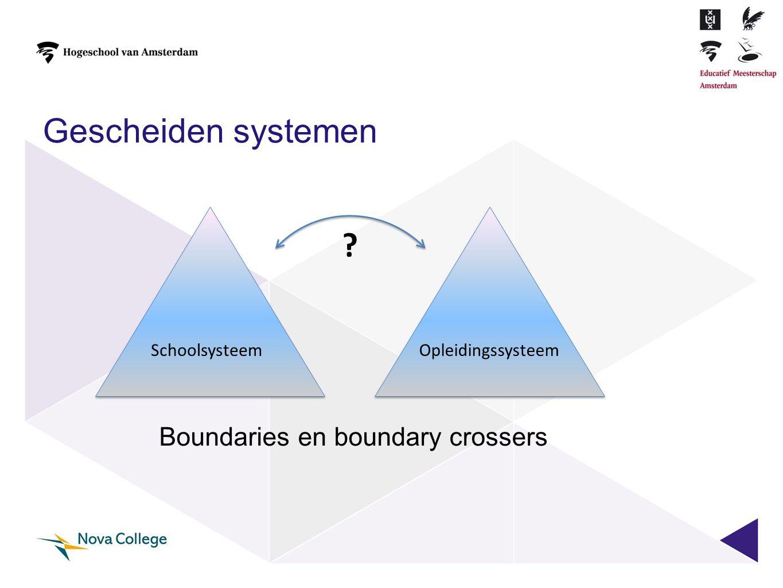 Gescheiden systemen SchoolsysteemOpleidingssysteem ? Boundaries en boundary crossers