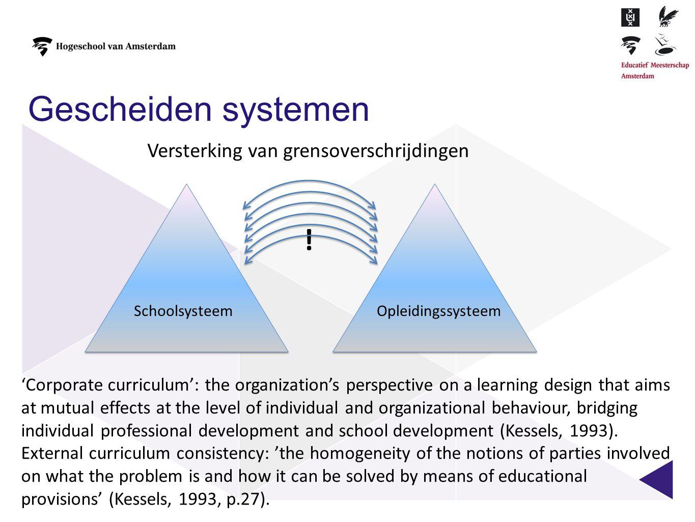 Gescheiden systemen SchoolsysteemOpleidingssysteem ! Versterking van grensoverschrijdingen 'Corporate curriculum': the organization's perspective on a