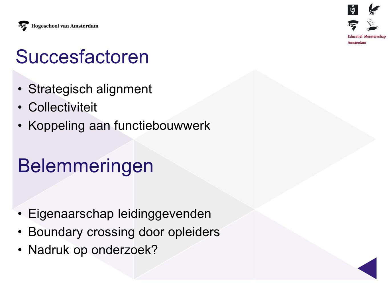 Succesfactoren •Strategisch alignment •Collectiviteit •Koppeling aan functiebouwwerk Belemmeringen •Eigenaarschap leidinggevenden •Boundary crossing d