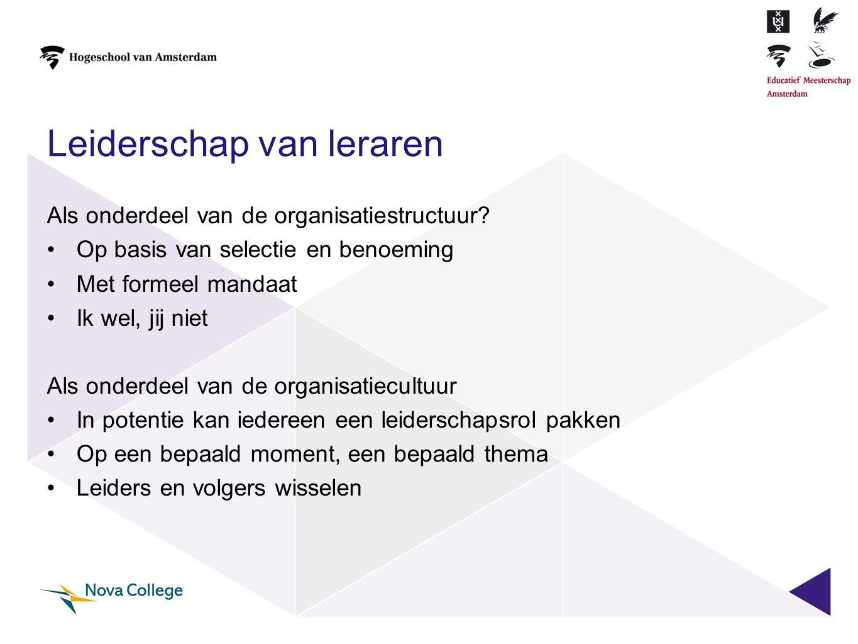 Leiderschap van leraren Als onderdeel van de organisatiestructuur? •Op basis van selectie en benoeming •Met formeel mandaat •Ik wel, jij niet Als onde