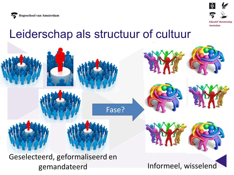 Geselecteerd, geformaliseerd en gemandateerd Leiderschap als structuur of cultuur Informeel, wisselend Fase?