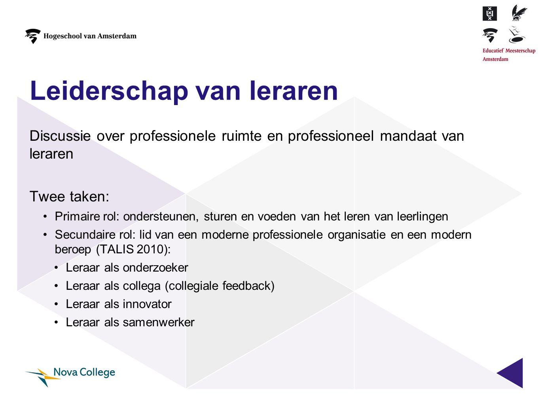 Leiderschap van leraren Discussie over professionele ruimte en professioneel mandaat van leraren Twee taken: •Primaire rol: ondersteunen, sturen en vo