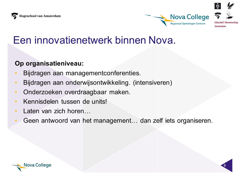 Een innovatienetwerk binnen Nova. 9 Op organisatieniveau: •Bijdragen aan managementconferenties. •Bijdragen aan onderwijsontwikkeling. (intensiveren)