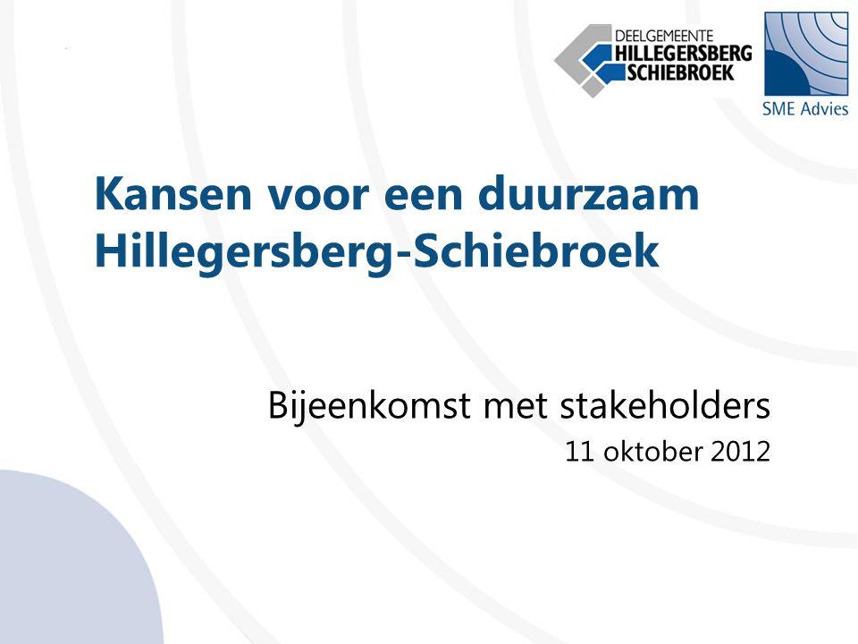 Kansen voor een duurzaam Hillegersberg-Schiebroek Bijeenkomst met stakeholders 11 oktober 2012