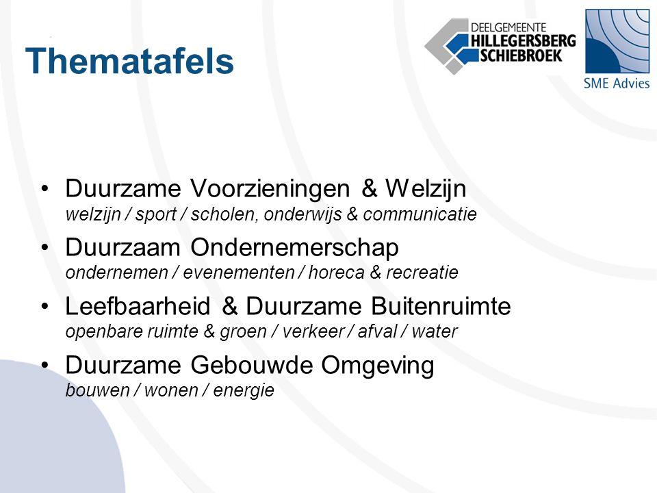 Thematafels •Duurzame Voorzieningen & Welzijn welzijn / sport / scholen, onderwijs & communicatie •Duurzaam Ondernemerschap ondernemen / evenementen /
