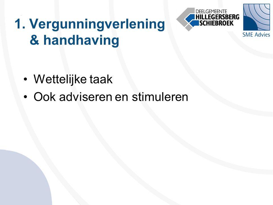 1. Vergunningverlening & handhaving •Wettelijke taak •Ook adviseren en stimuleren