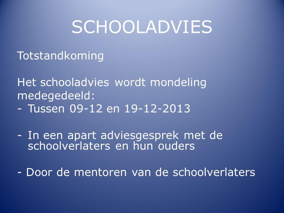 SCHOOLADVIES Totstandkoming Het schooladvies wordt mondeling medegedeeld: -Tussen 09-12 en 19-12-2013 -In een apart adviesgesprek met de schoolverlate