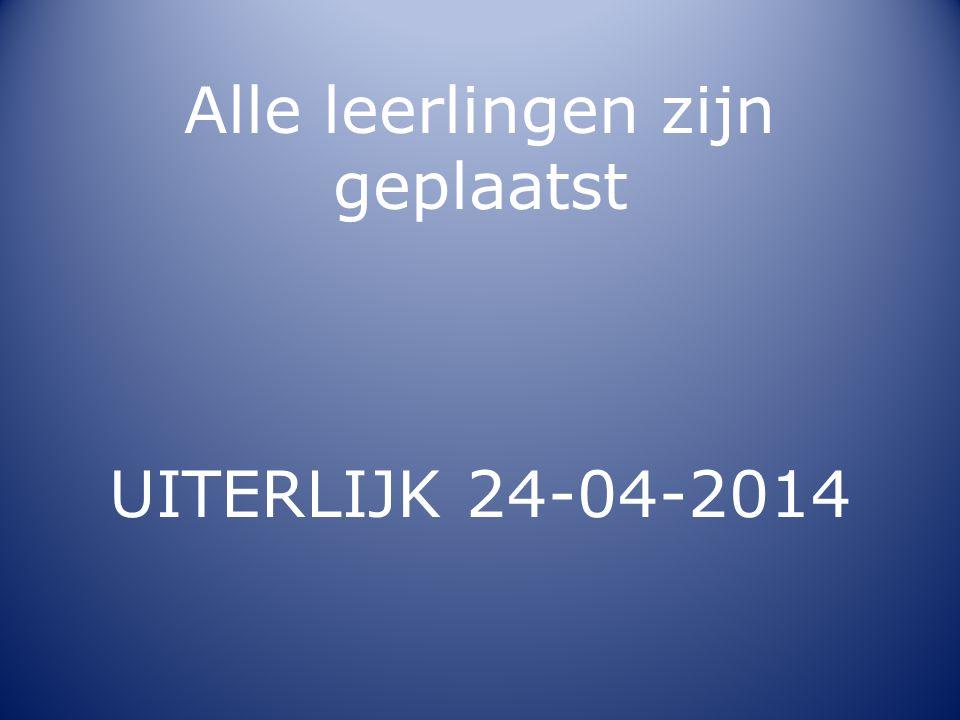 Alle leerlingen zijn geplaatst UITERLIJK 24-04-2014