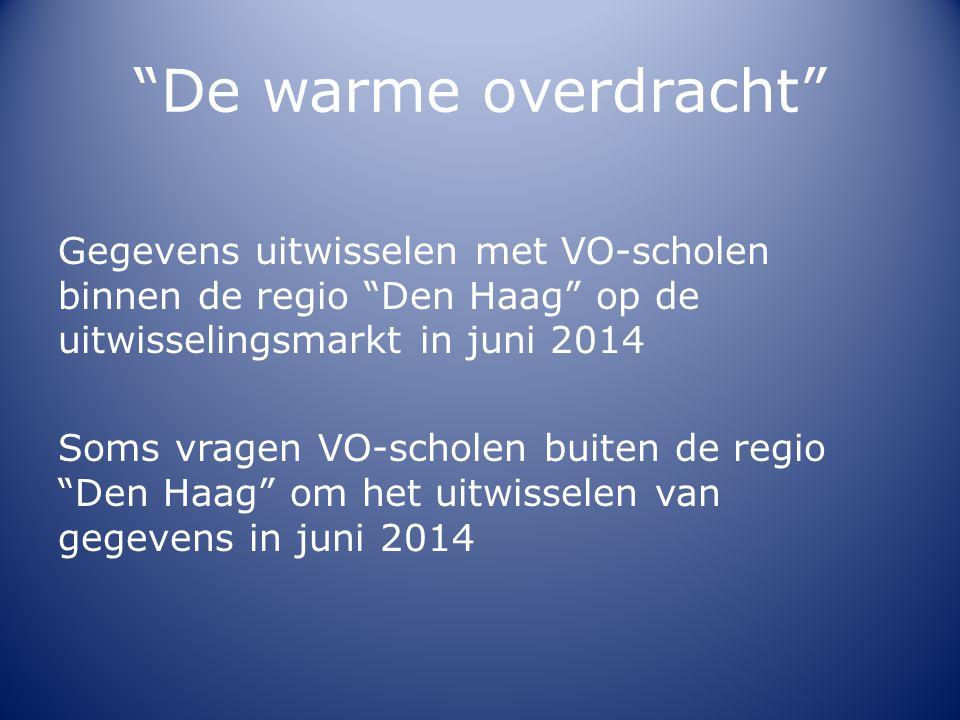 """""""De warme overdracht"""" Gegevens uitwisselen met VO-scholen binnen de regio """"Den Haag"""" op de uitwisselingsmarkt in juni 2014 Soms vragen VO-scholen buit"""