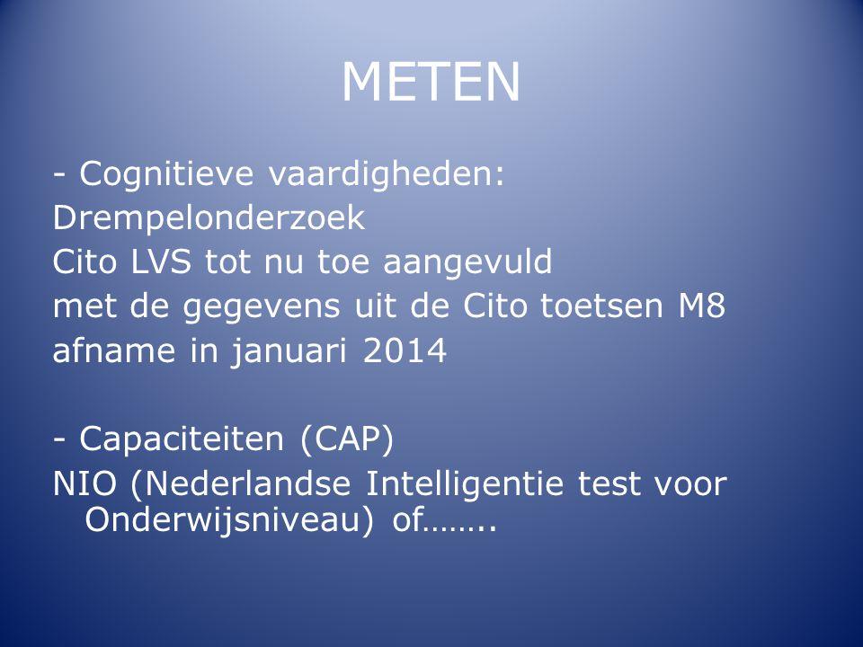 METEN - Cognitieve vaardigheden: Drempelonderzoek Cito LVS tot nu toe aangevuld met de gegevens uit de Cito toetsen M8 afname in januari 2014 - Capaci