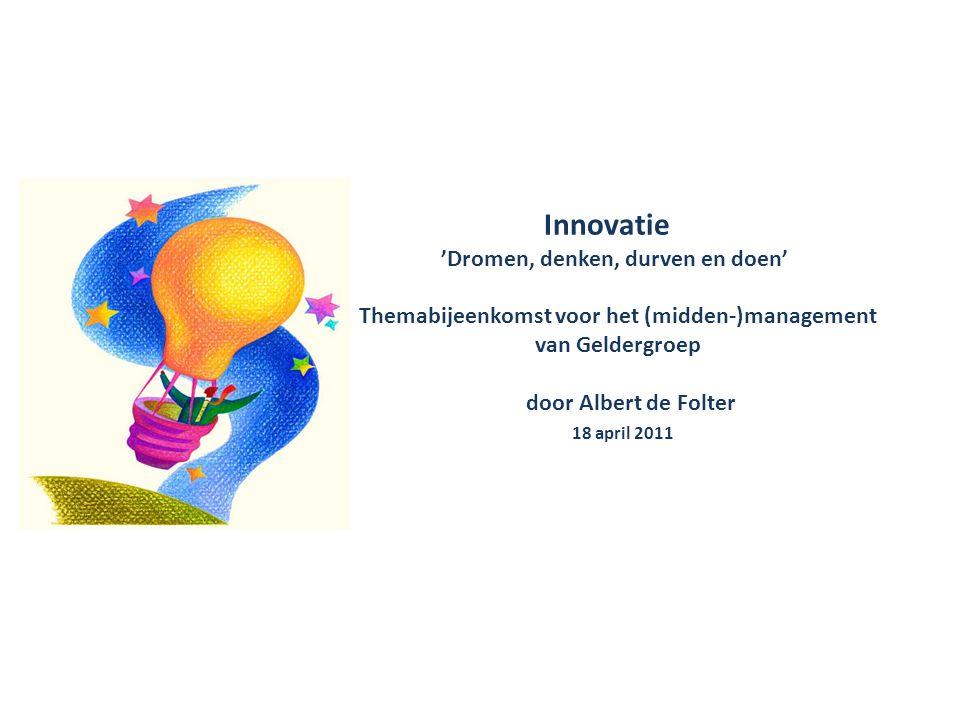 • formuleren innovatiedoelen • ideevorming • selectie op kansrijke ideeën • ontwikkeling • testfase • vermarkten Innovatiefasen