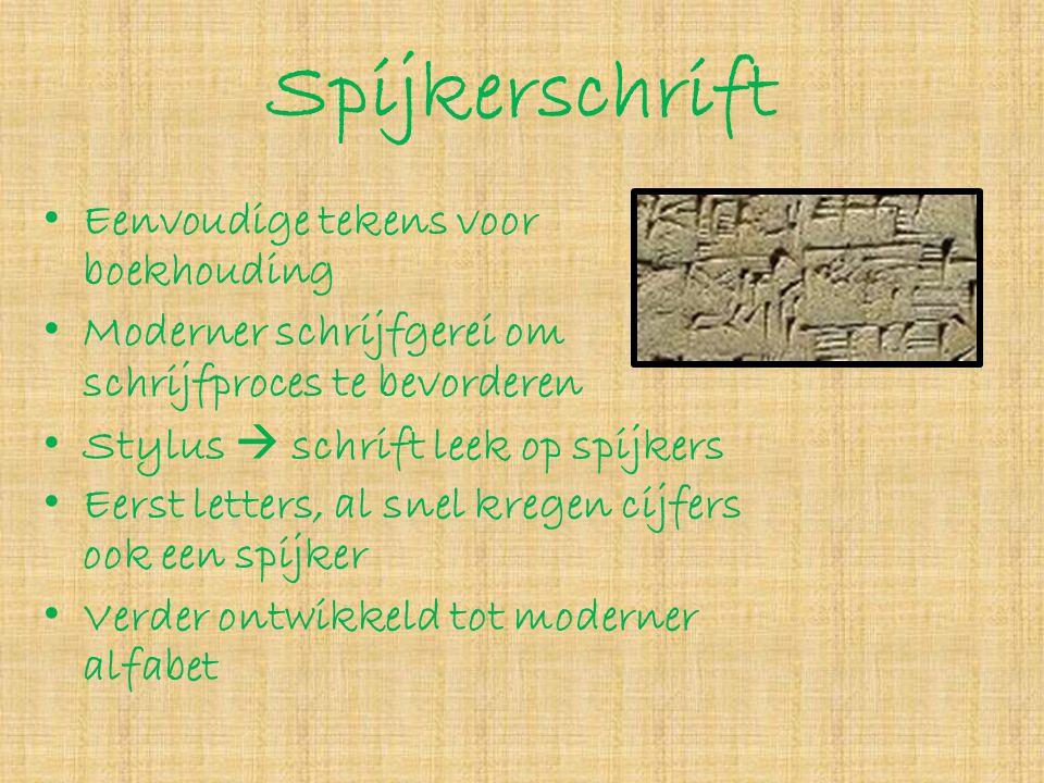Spijkerschrift • Eenvoudige tekens voor boekhouding • Moderner schrijfgerei om schrijfproces te bevorderen • Stylus  schrift leek op spijkers • Eerst