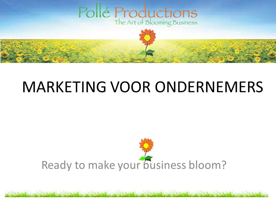 MARKETING VOOR ONDERNEMERS Ready to make your business bloom
