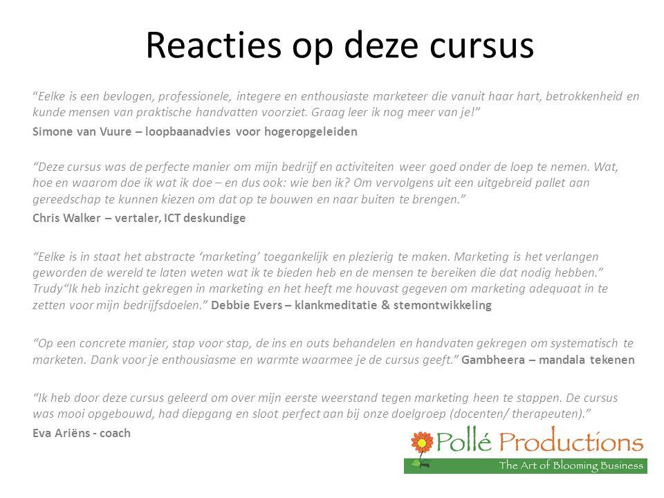 Reacties op deze cursus Eelke is een bevlogen, professionele, integere en enthousiaste marketeer die vanuit haar hart, betrokkenheid en kunde mensen van praktische handvatten voorziet.