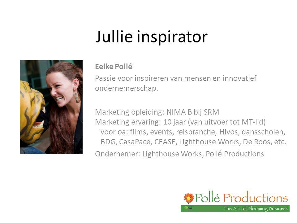 Jullie inspirator Eelke Pollé Passie voor inspireren van mensen en innovatief ondernemerschap. Marketing opleiding: NIMA B bij SRM Marketing ervaring: