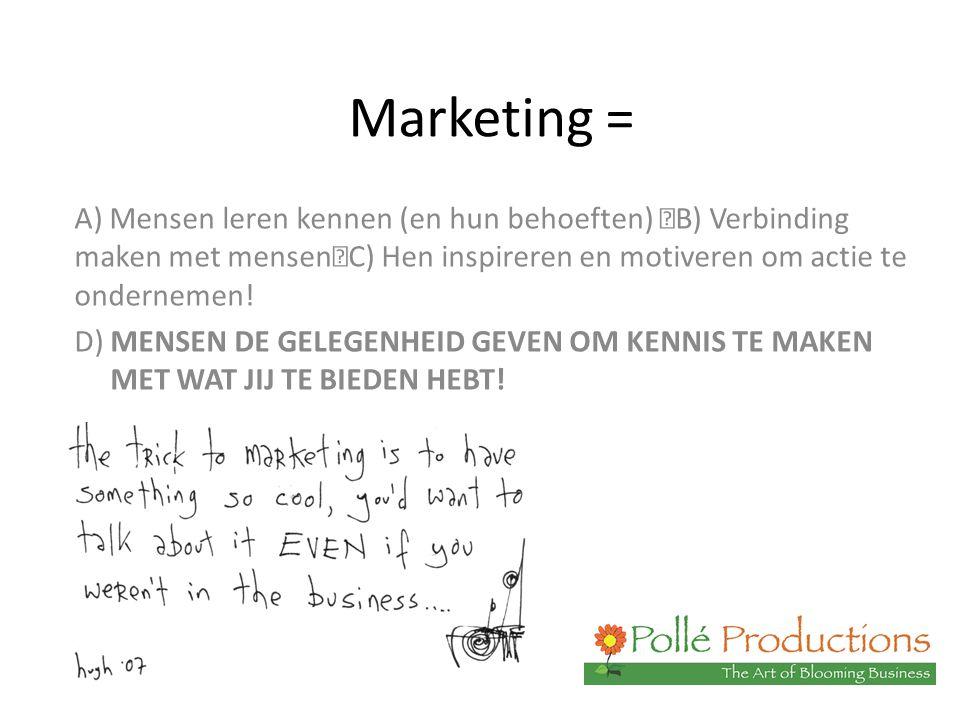 Marketing = A) Mensen leren kennen (en hun behoeften) B) Verbinding maken met mensen C) Hen inspireren en motiveren om actie te ondernemen! D) MENSEN