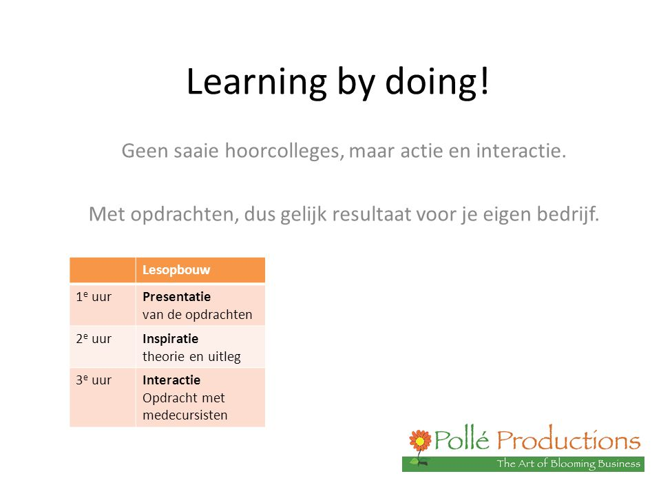 Learning by doing! Geen saaie hoorcolleges, maar actie en interactie. Met opdrachten, dus gelijk resultaat voor je eigen bedrijf. Lesopbouw 1 e uurPre
