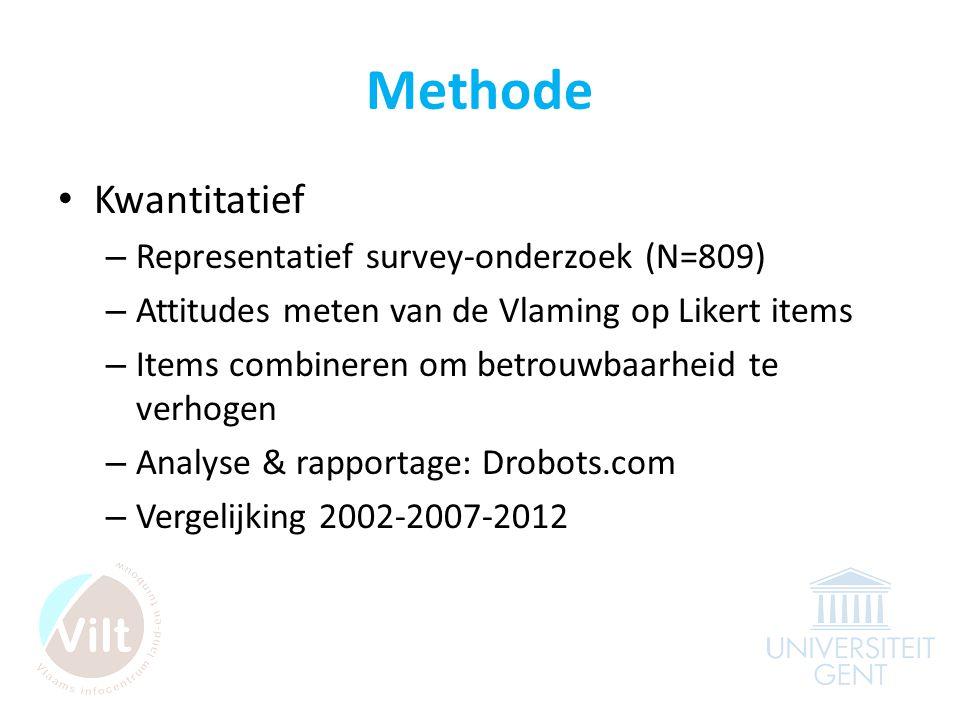 Methode • Kwantitatief – Representatief survey-onderzoek (N=809) – Attitudes meten van de Vlaming op Likert items – Items combineren om betrouwbaarheid te verhogen – Analyse & rapportage: Drobots.com – Vergelijking 2002-2007-2012