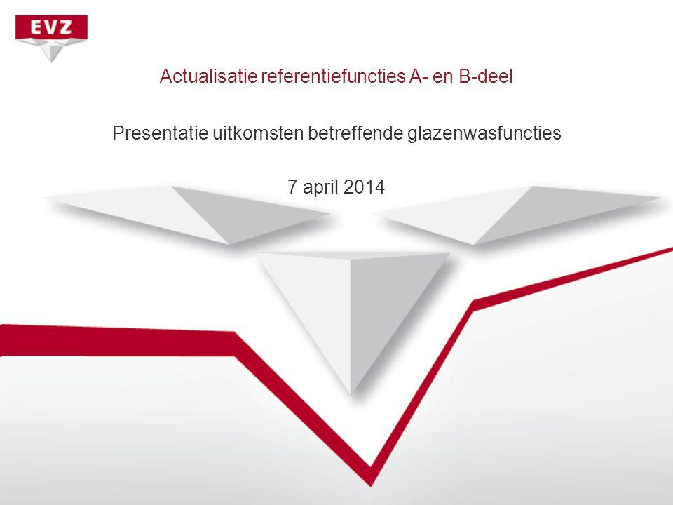 Actualisatie referentiefuncties A- en B-deel Presentatie uitkomsten betreffende glazenwasfuncties 7 april 2014