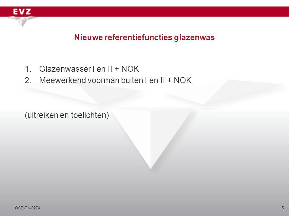 Nieuwe referentiefuncties glazenwas 1.Glazenwasser I en II + NOK 2.Meewerkend voorman buiten I en II + NOK (uitreiken en toelichten) 5OSB-P140274