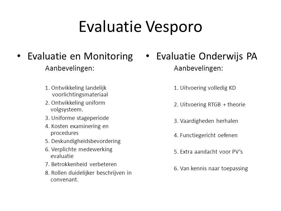 Evaluatie Vesporo • Evaluatie en Monitoring Aanbevelingen: 1. Ontwikkeling landelijk voorlichtingsmateriaal 2. Ontwikkeling uniform volgsysteem. 3. Un