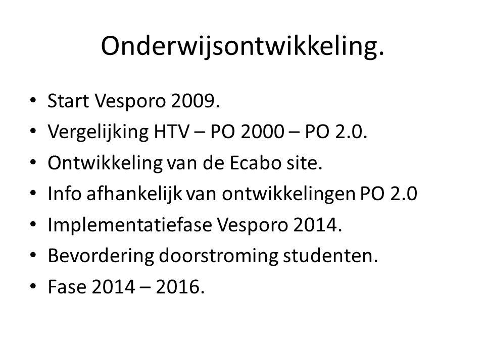 Onderwijsontwikkeling. • Start Vesporo 2009. • Vergelijking HTV – PO 2000 – PO 2.0. • Ontwikkeling van de Ecabo site. • Info afhankelijk van ontwikkel