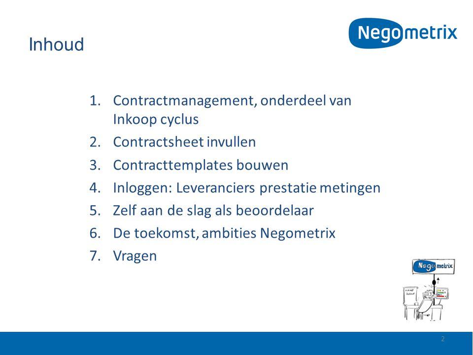 Inhoud 1.Contractmanagement, onderdeel van Inkoop cyclus 2.Contractsheet invullen 3.Contracttemplates bouwen 4.Inloggen: Leveranciers prestatie meting