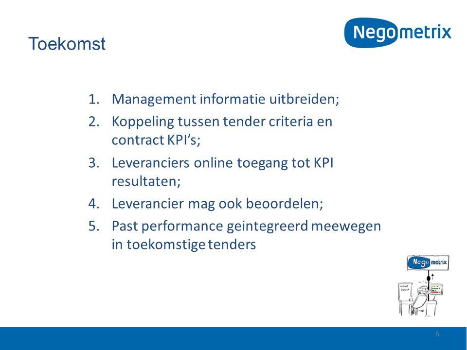 Toekomst 1.Management informatie uitbreiden; 2.Koppeling tussen tender criteria en contract KPI's; 3.Leveranciers online toegang tot KPI resultaten; 4
