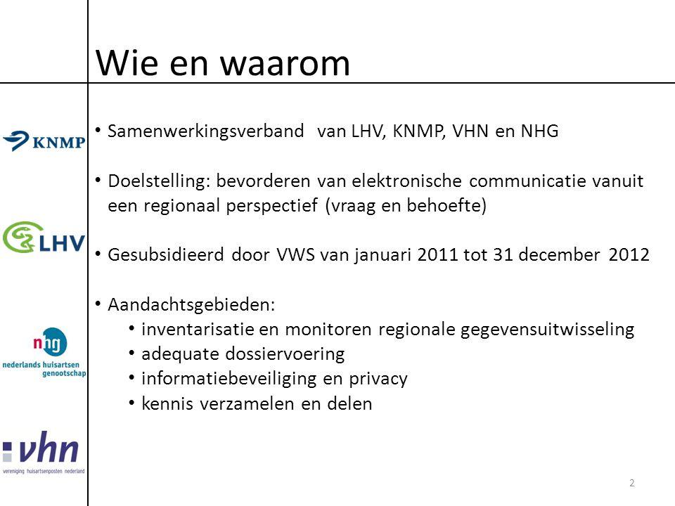 Wie en waarom • Samenwerkingsverband van LHV, KNMP, VHN en NHG • Doelstelling: bevorderen van elektronische communicatie vanuit een regionaal perspect