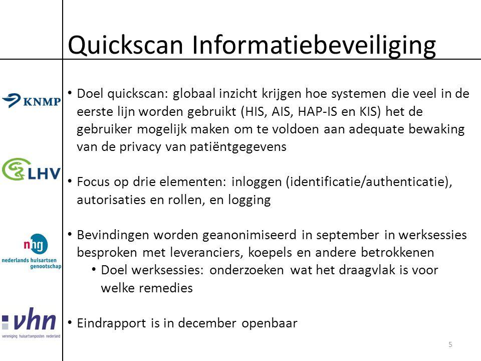 Quickscan Informatiebeveiliging • Doel quickscan: globaal inzicht krijgen hoe systemen die veel in de eerste lijn worden gebruikt (HIS, AIS, HAP-IS en