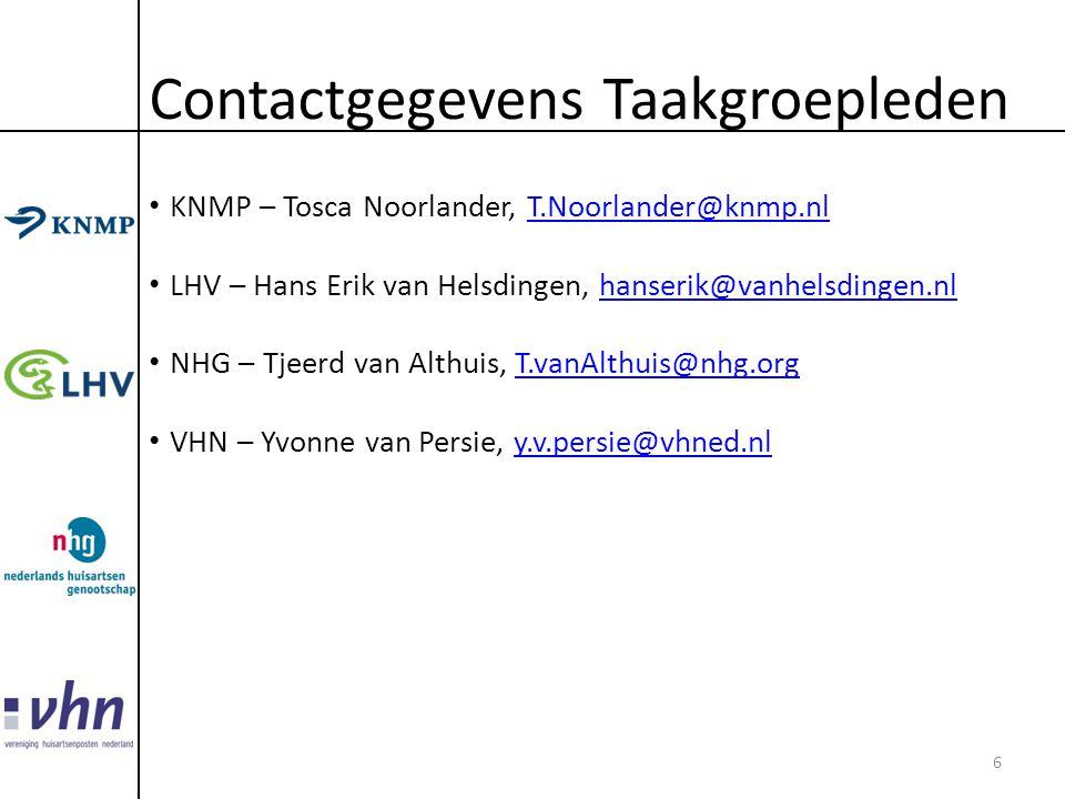 Contactgegevens Taakgroepleden • KNMP – Tosca Noorlander, T.Noorlander@knmp.nlT.Noorlander@knmp.nl • LHV – Hans Erik van Helsdingen, hanserik@vanhelsd