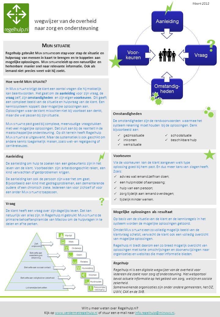 Regelhulp Regelhulp.nl is een digitale wegwijzer van de overheid voor iedereen die zoekt naar zorg of ondersteuning.