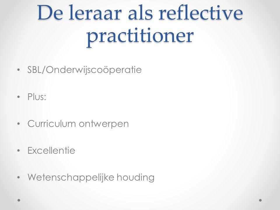 De leraar als reflective practitioner • SBL/Onderwijscoöperatie • Plus: • Curriculum ontwerpen • Excellentie • Wetenschappelijke houding