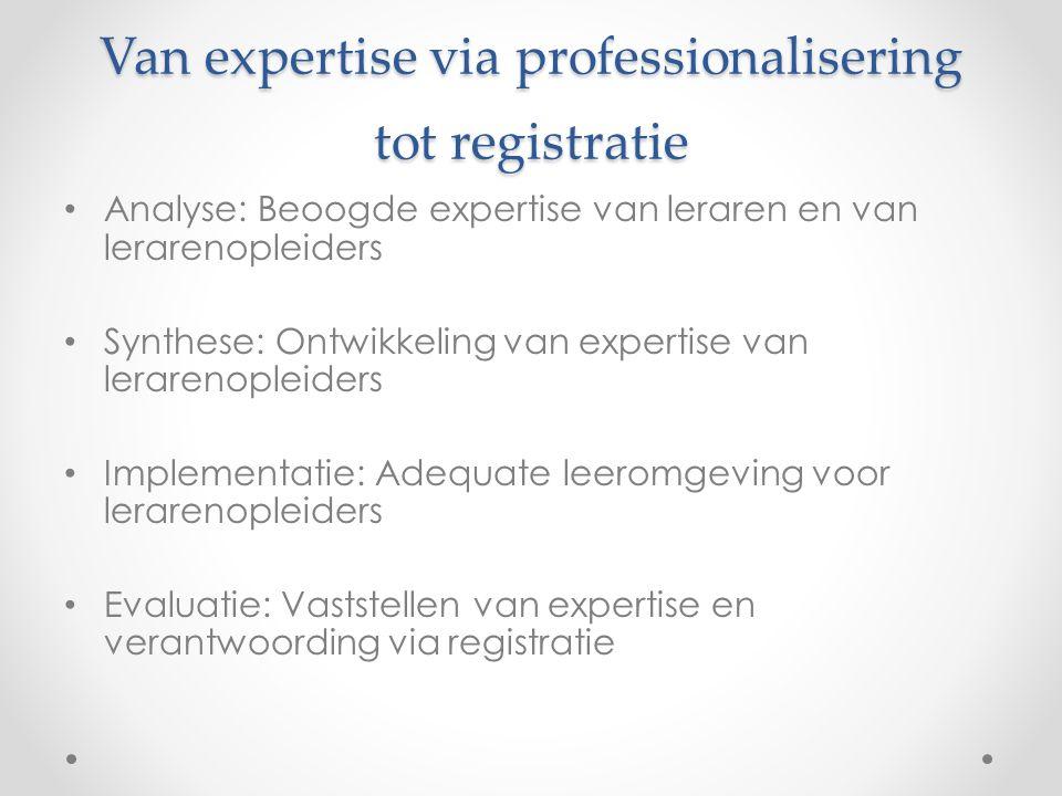 Van expertise via professionalisering tot registratie • Analyse: Beoogde expertise van leraren en van lerarenopleiders • Synthese: Ontwikkeling van ex
