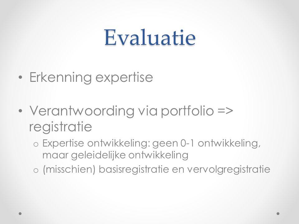 Evaluatie • Erkenning expertise • Verantwoording via portfolio => registratie o Expertise ontwikkeling: geen 0-1 ontwikkeling, maar geleidelijke ontwi
