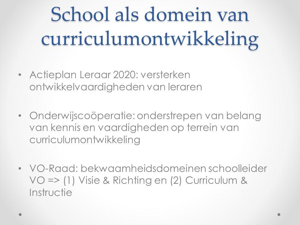 School als domein van curriculumontwikkeling • Actieplan Leraar 2020: versterken ontwikkelvaardigheden van leraren • Onderwijscoöperatie: onderstrepen