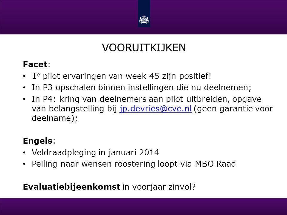 VOORUITKIJKEN Facet: • 1 e pilot ervaringen van week 45 zijn positief! • In P3 opschalen binnen instellingen die nu deelnemen; • In P4: kring van deel