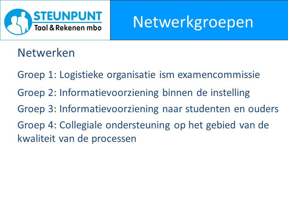 Netwerkgroepen Netwerken Groep 1: Logistieke organisatie ism examencommissie Groep 2: Informatievoorziening binnen de instelling Groep 3: Informatievo