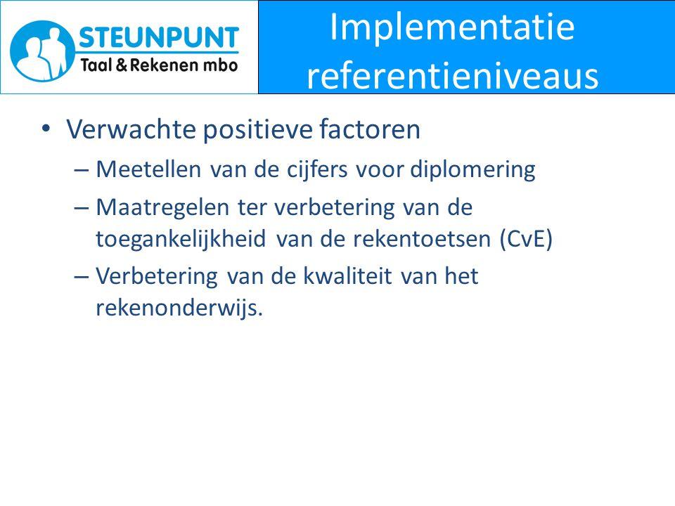 Implementatie referentieniveaus • Verwachte positieve factoren – Meetellen van de cijfers voor diplomering – Maatregelen ter verbetering van de toegan