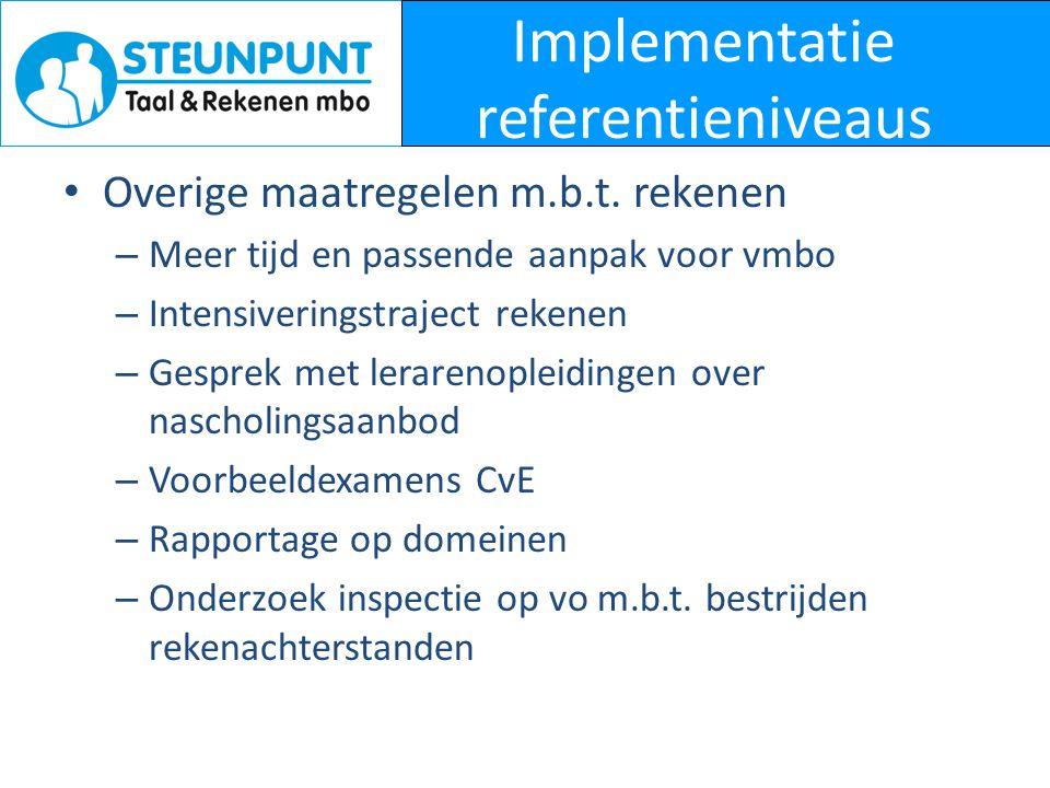 Implementatie referentieniveaus • Overige maatregelen m.b.t. rekenen – Meer tijd en passende aanpak voor vmbo – Intensiveringstraject rekenen – Gespre