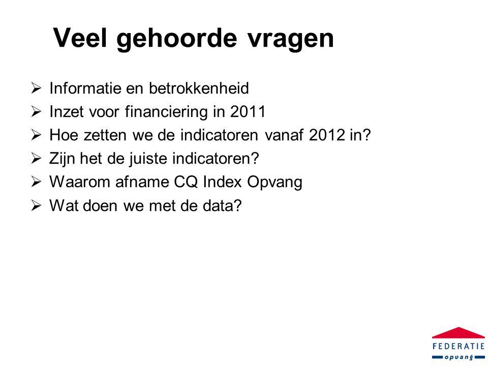 Veel gehoorde vragen  Informatie en betrokkenheid  Inzet voor financiering in 2011  Hoe zetten we de indicatoren vanaf 2012 in.