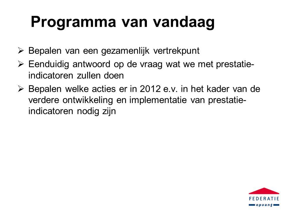 Programma van vandaag  Bepalen van een gezamenlijk vertrekpunt  Eenduidig antwoord op de vraag wat we met prestatie- indicatoren zullen doen  Bepalen welke acties er in 2012 e.v.
