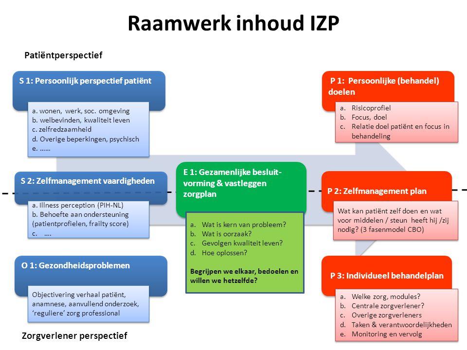 Raamwerk inhoud IZP O 1: Gezondheidsproblemen Patiëntperspectief Zorgverlener perspectief S 2: Zelfmanagement vaardigheden S 2: Zelfmanagement vaardig