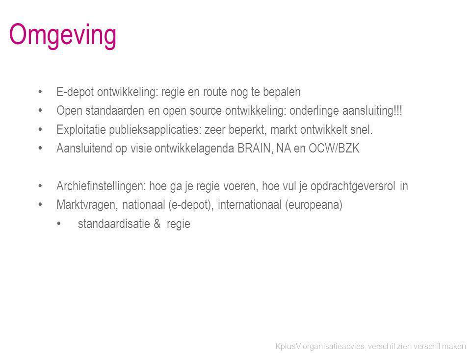 KplusV organisatieadvies, verschil zien verschil maken Omgeving • E-depot ontwikkeling: regie en route nog te bepalen • Open standaarden en open source ontwikkeling: onderlinge aansluiting!!.