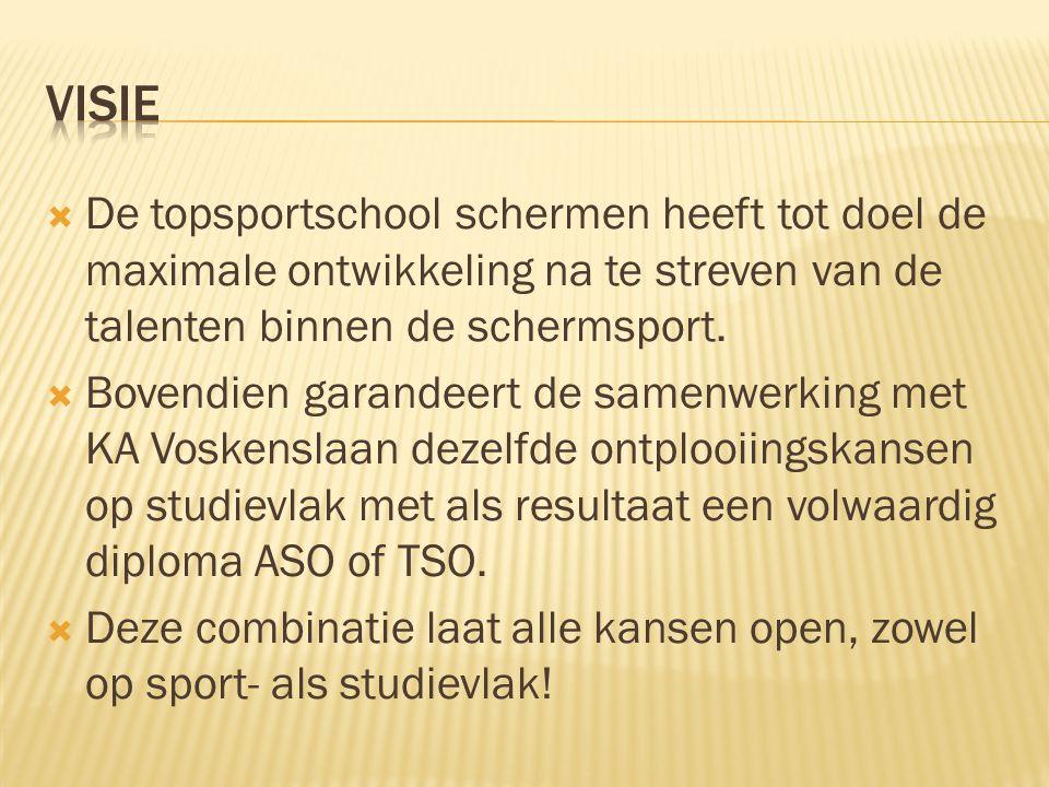  De topsportschool schermen heeft tot doel de maximale ontwikkeling na te streven van de talenten binnen de schermsport.  Bovendien garandeert de sa
