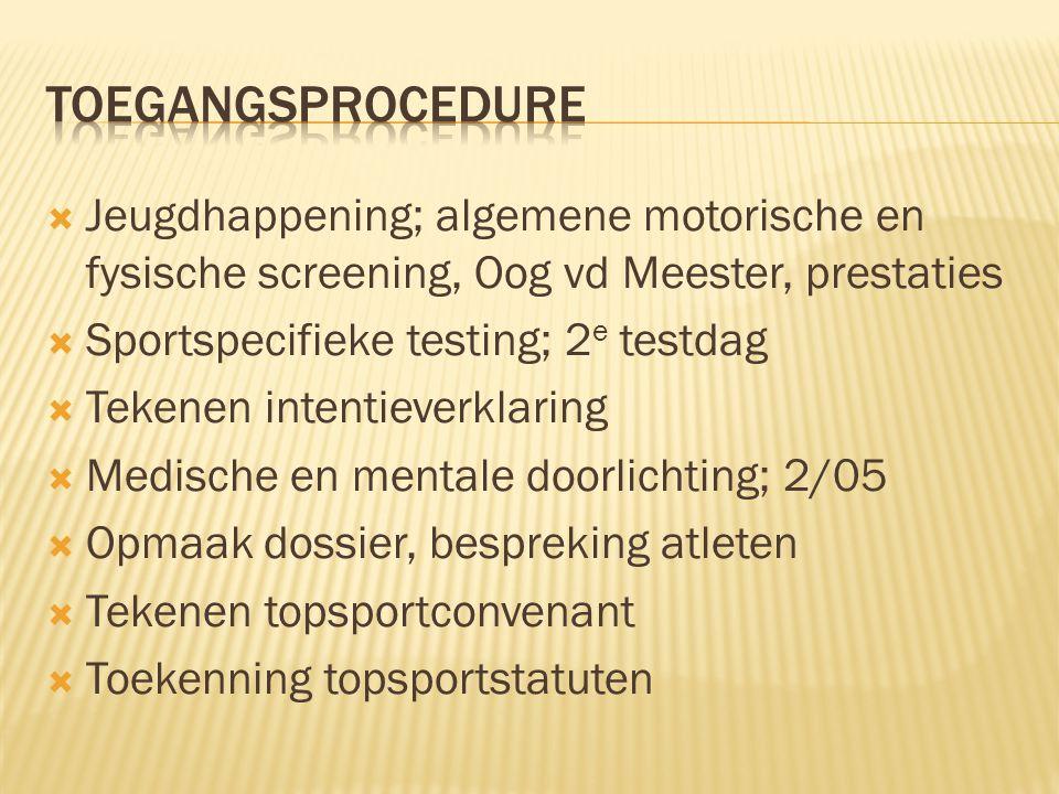  Jeugdhappening; algemene motorische en fysische screening, Oog vd Meester, prestaties  Sportspecifieke testing; 2 e testdag  Tekenen intentieverkl
