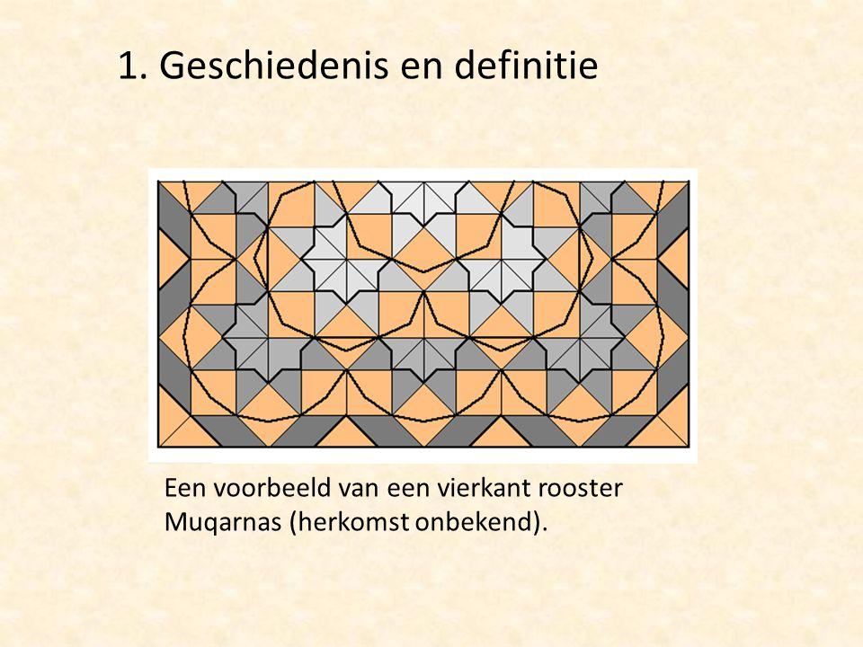 Een voorbeeld van een vierkant rooster Muqarnas (herkomst onbekend). 1. Geschiedenis en definitie