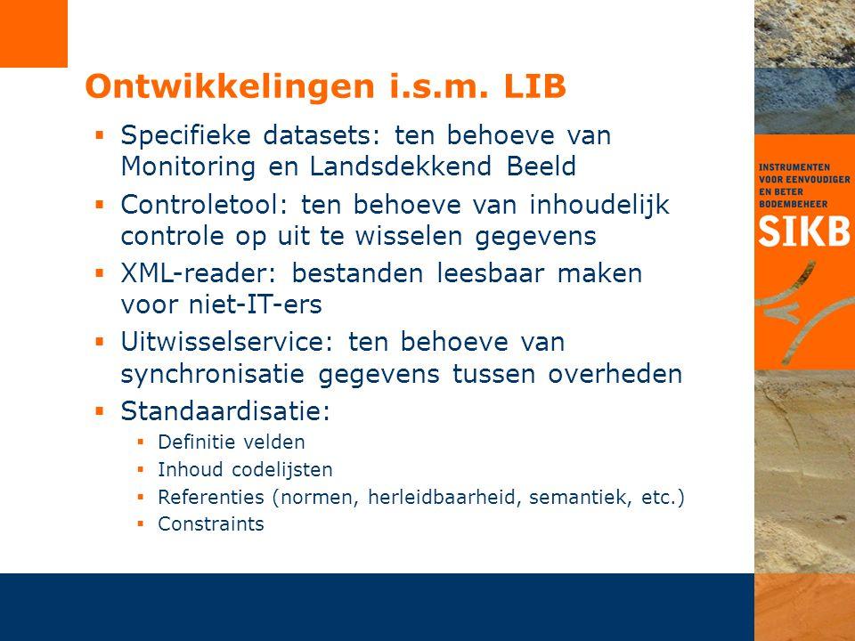 Aandachtspunten 'LIB':  Inhoudelijke beheer:  Vervallen wettelijke basis monitoring  Nieuwe vraagstukken monitoring  Standaardisatie en definities  Organisatie:  Afstemming met doelgroep (BG en softwareleveranciers)  Inbrengen wijzigingsvoorstellen  Technische ontwikkelingen:  NEN3610 -> IM0101-LIB  Centrale dataopslag -> Bodemloket