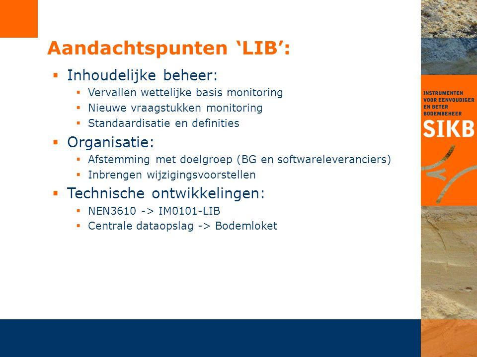 Aandachtspunten 'LIB':  Inhoudelijke beheer:  Vervallen wettelijke basis monitoring  Nieuwe vraagstukken monitoring  Standaardisatie en definities
