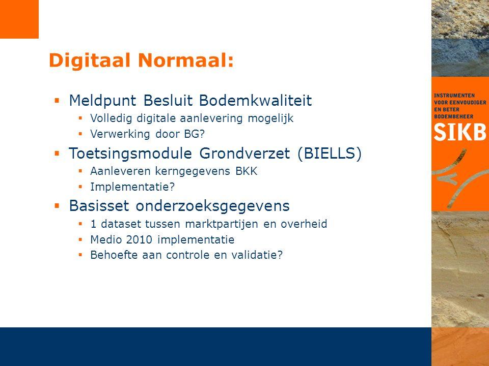 Digitaal Normaal:  Meldpunt Besluit Bodemkwaliteit  Volledig digitale aanlevering mogelijk  Verwerking door BG?  Toetsingsmodule Grondverzet (BIEL